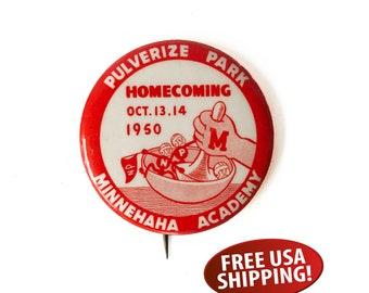 1950 Minnehaha Academy High School Homecoming Button, Minneapolis, Minnesota, Evangelical Covenant Church, High School Memorabila