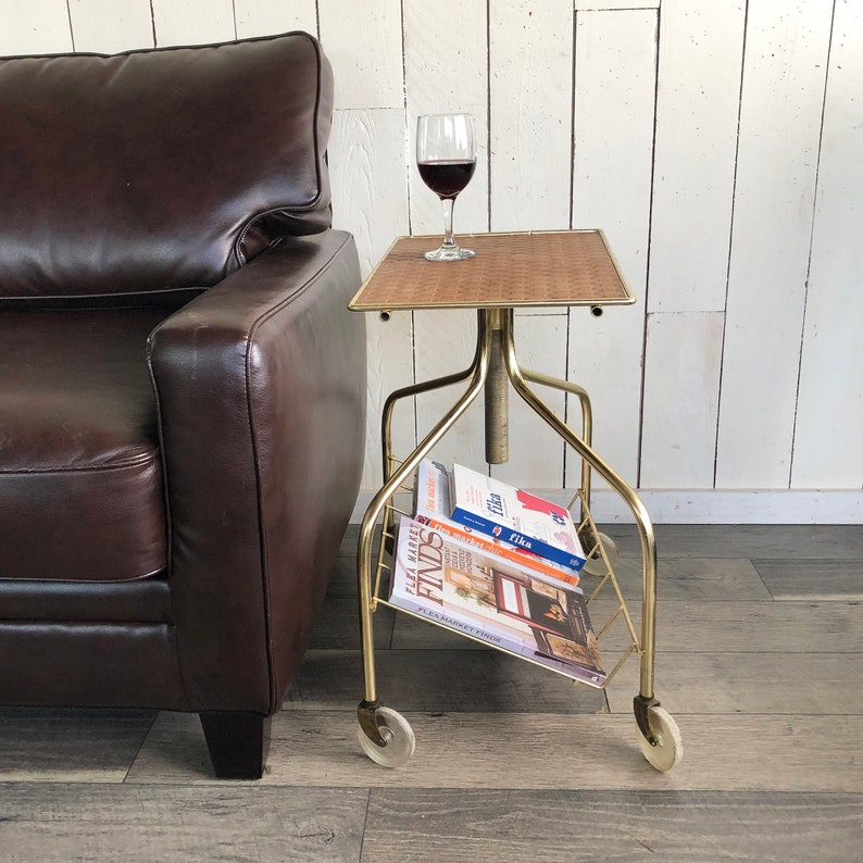 Funky Rolling Mid Century Side Table Mini Bar Bistro Table image 0