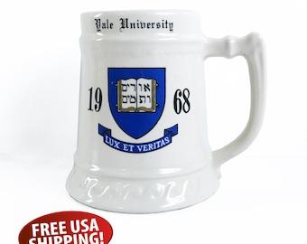 Yale University 1968 Ceramic Stein, College Beer Stein, 24 Oz Mug, University Stein, Initials J.C.B.