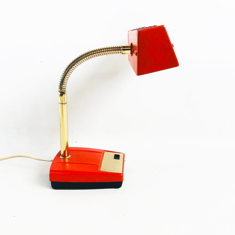 Orange Mid-Century Gooseneck Desk Lamp Retro Task Light image 0