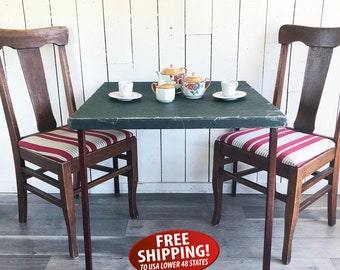 Antique Acme Co. Folding Card Table, Glamping Table, Card Table, Bridge Table, Shabby Wedding Gift Table