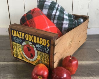 Vintage Chazy New York Apple Crate, Fruit Crate, Wooden Box - Chazy Orchards Macintosh Apples