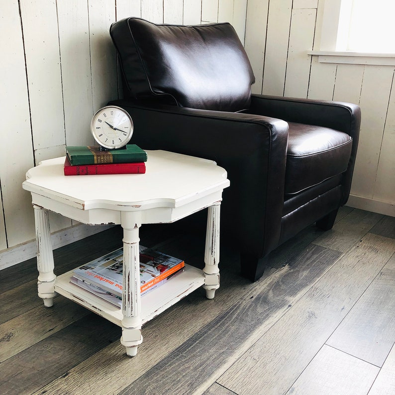 Vintage Shabby Cream White End Table End Table Coffee Table image 0