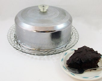 Mid-Century Stainless Steel and Glass Cake Keep