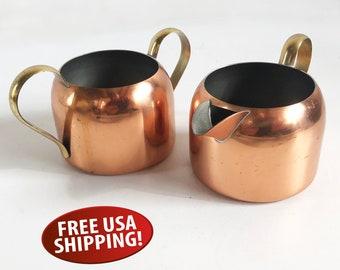 Vintage Copper Craft Guild Copper and Brass Cream & Sugar, Made in Taunton, Massachusetts