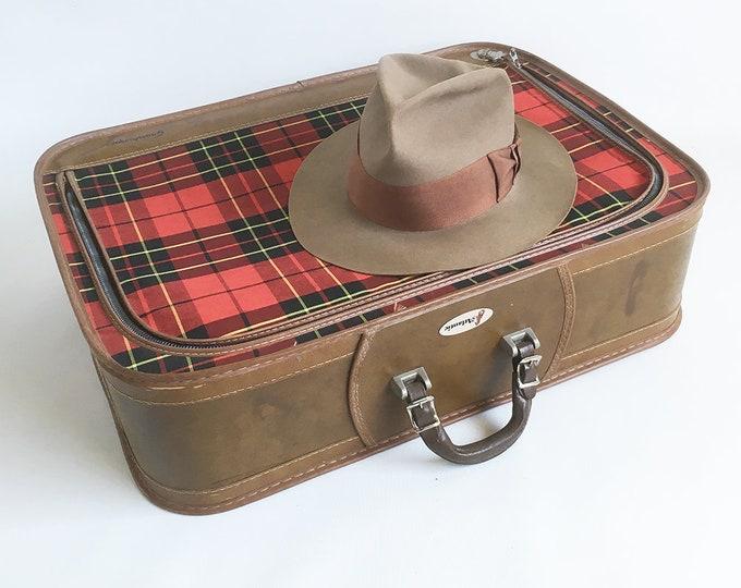 "Featured listing image: Mid Century Grasshopper 24"" Tartan Plaid Suitcase - Large Soft-sided Suitcase"