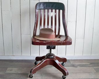 Rare 1930s General Fireproofing All Aluminum Office Chair with Faux Mahogany Painted Finish