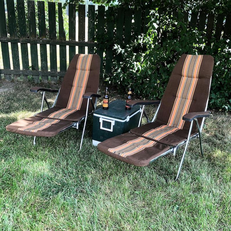 Pair of Mid Century Mod Maule Marga Folding Lounge Chairs image 0