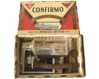 Vintage Cigar Box Full of 1930s Treasures - 1930s Memory Box