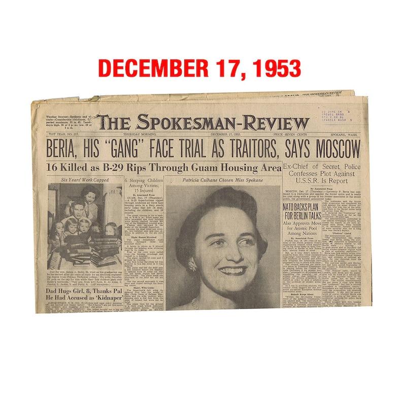 Old Newspaper from December 17 1953  Spokane WA image 0