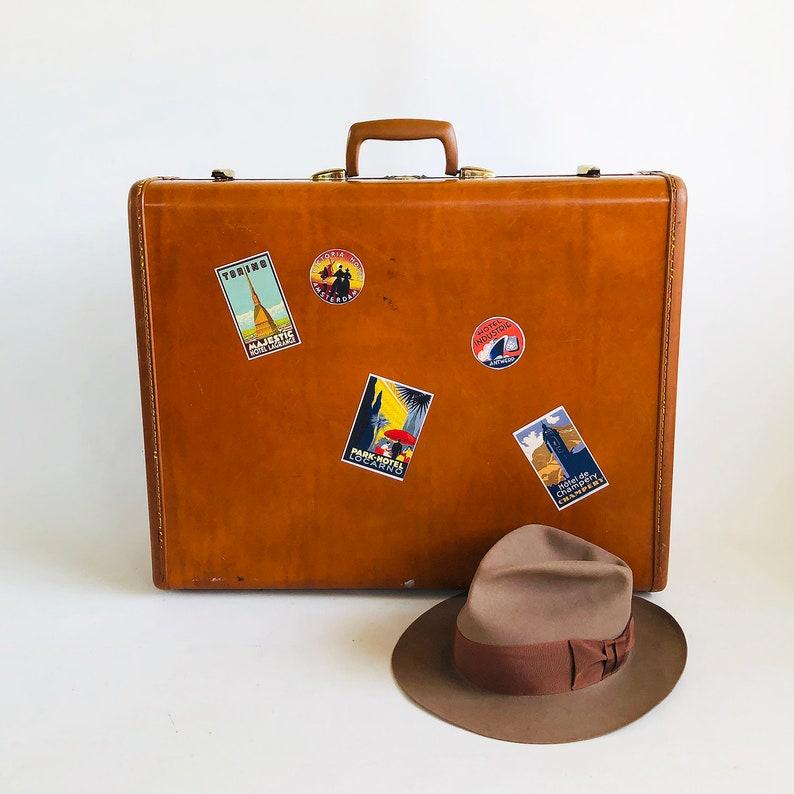 1950s Camel Brown Samsonite Suitcase with Retro Travel image 0