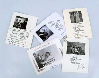A Lot of 5 - 1950s Family Photo Christmas Cards - Black & White