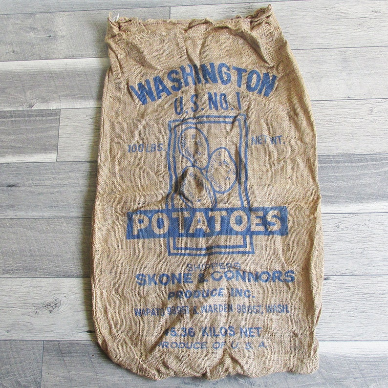 Vintage Washington State Potato Sack Gunney Sack Burlap Bag image 0