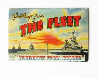 World War Two US Navy Fleet Postcard Booklet - WWII Warship & Aircraft Photos