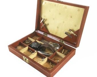 Mid Century Bond Street Jewel Case, Jewelry Box, Mens Jewelry Box with Key