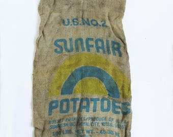 Vintage Washington State Potato Sack - Burlap Bag - Gunny Sack