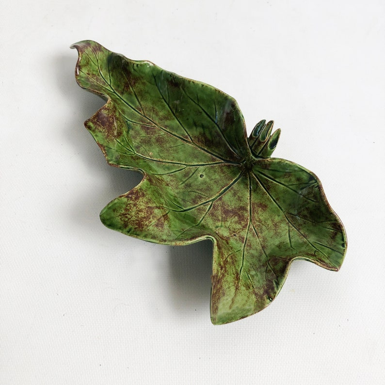 1960s Pat Young Ceramic Leaf Art Ashtray Bowl Tray in Green image 0