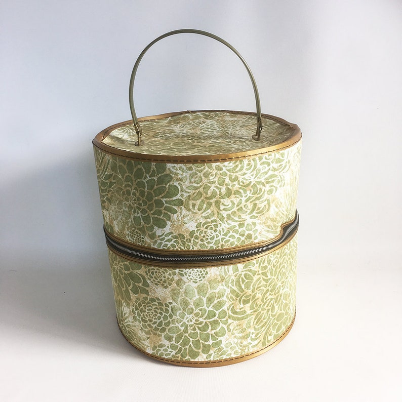 Mid Century Wig Case Hat Box Carrying Case Double Wig Case image 0