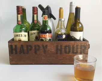 "Rustic Wooden Box Turned Mini-Bar - Primitive Wood Box, Industrial Box, ""Happy Hour"" Box"