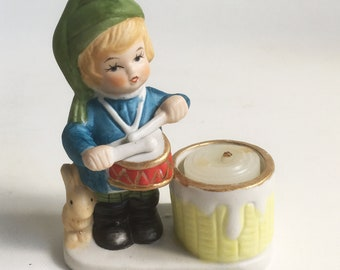 """1978 Jasco """"Drummer Boy"""" Christmas Decoration, Porcelain Bisque Figurine, Candle Holder, Christmas Luvkins """"Free USA Shipping"""""""