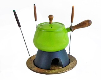 1970s Mod Lime Green Porcelain Enamel Fondue Pot With Forks, Retro Fondue Pot