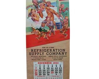 """1952 Monkey Cartoon Wall Calendar by Lawson Wood """"The Big Shot"""""""
