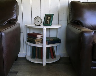 "Vintage Shabby Half-moon Shelf, End Table, Night Stand, ""Art Deco Style"""
