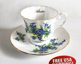 Alaska Souvenir Tea Cup & Saucer, Elizabethan Staffordshire Bone China - Made in England