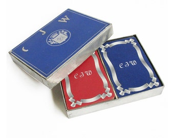 """Mid Century Double Deck Playing Cards with Initials """"CJW"""""""