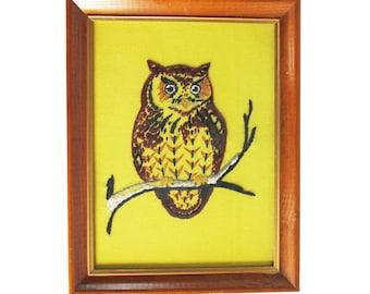 Kitschy Mid Century Owl Embroidery - Framed
