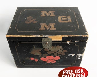 Old Japanese Made Black Lacquered, Hand-painted Hinged Box, Distressed Storage Box, Asian Wood Box