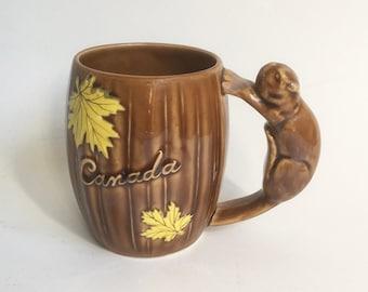 "1950 Shafford Ceramic Canada Souvenir Mug with Squirrel Handle, Canadian Souvenir  ""Mid Century Road Trip Kitsch"""