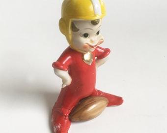 1950s Ceramic Pixie Football Player Figurine - Kitschy Mid Century Sports Figurine - FREE USA SHIPPING