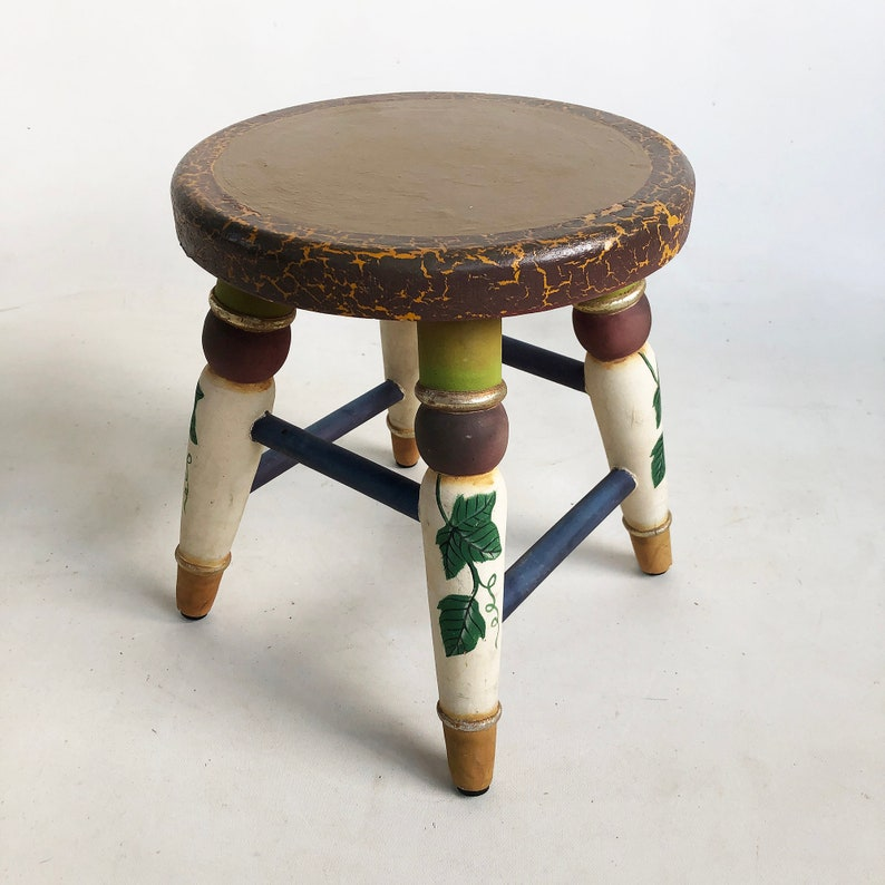 Small Vintage Hand-Painted Wooden Stool Footrest Ottoman image 0