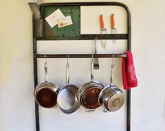 "Industrial Cart Push Rail Turned Kitchen Pot Rack, Bathroom Towel Rack, Organizer ""Wonderful Distressed Patina"""