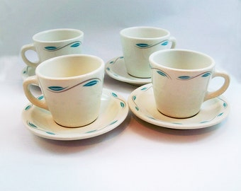 Set of 4 Homer Laughlin China Coffee Cups & Saucers - Retro Diner Mugs
