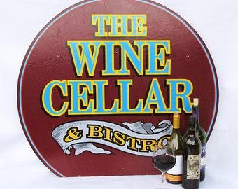 """Large Vintage Wooden Restaurant Sign """"Wine Cellar & Bistro"""" - Vintage Advertising Sign"""