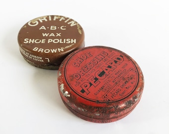 A Pair of 1930s-1940s Shoe Polish Tins, Griffin & Pecard Shoe Care Tins -  FREE USA SHIPPING