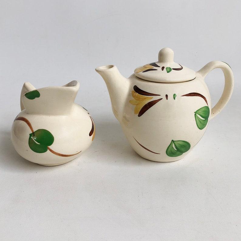 Vintage Purinton Slip Ware Teapot & Pitcher  Creamer  image 0