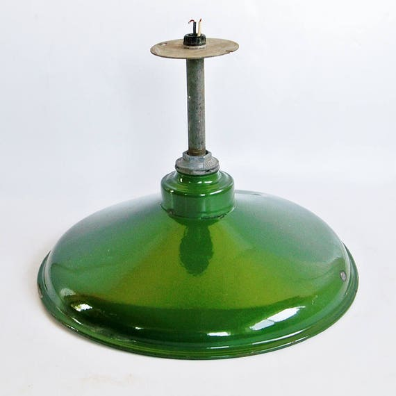 Vintage Abolite Green Porcelain Enamel Barn Light Industrial Light Warehouse Light Factory Light 16 5 Diameter