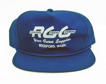 1980s Blue Twill Trucker's Hat, Farmer's Hat with Rockford Grain Growers logo - Rockford, Washington