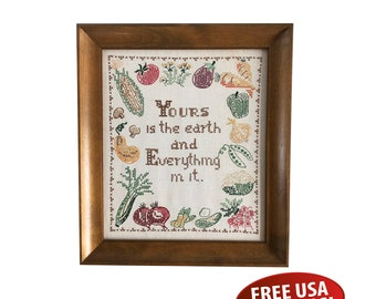 """Vintage Framed Cross Stitch, Embroidery, Sampler, Cross Stitching, """"Yours is the earth and Everything in it"""""""