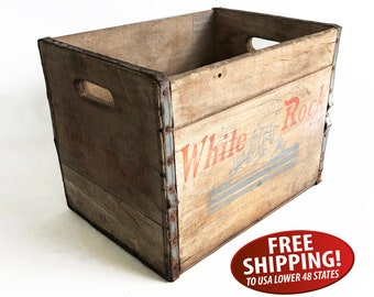 1962 White Rock Sparkling Beverages Wooden Crate from Brooklyn, New York - Fairy Graphics, Rustic, Distressed, Farmhouse Decor