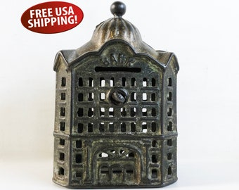 Antique Cast Iron Penny Bank, Coin Bank, Children's Bank, AC Williams Penny Bank, Bank Collector