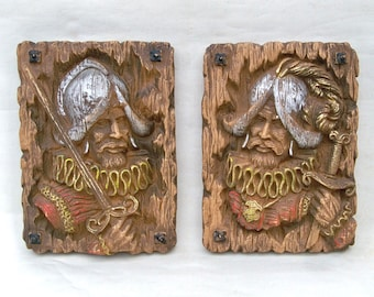 """Two Mid Century Homco Faux Wood Carved Spanish Conquistadors  """"Kitschy 1970s Art"""""""