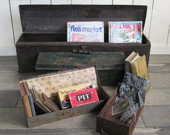 Bundle of Distressed Vintage Toolboxes, 4 Pieces of Industrial Chic Beauty