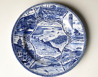 1930s San Francisco Souvenir Plate, Blue Transfer Ware, Collectible Plate, Made in Japan - FREE USA SHIPPING