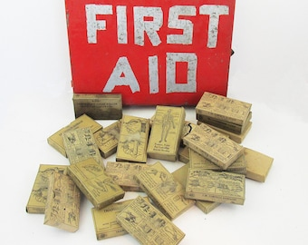 1920s Mining First Aid Box Full of Original Supplies with Vintage Medical Illustrations