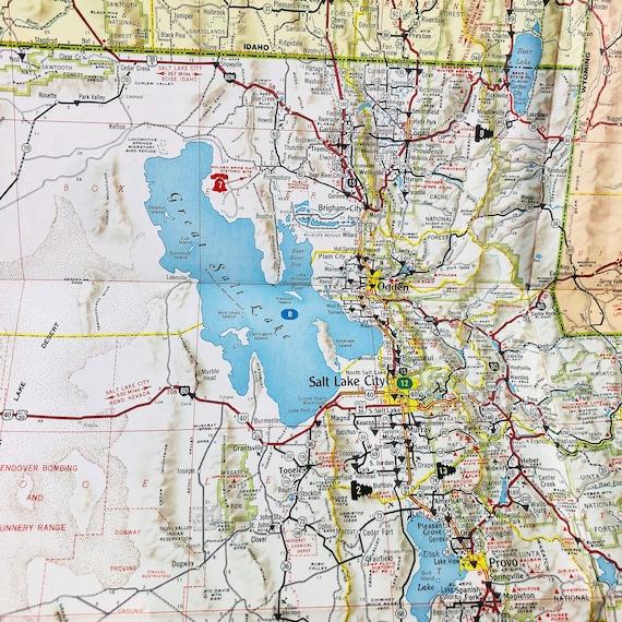 1960s Utah Road Map - Touring Map - Utah Highway Map - Service Station Road  Map \