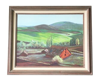 """Large, Sofa-Size Framed Original Oil Painting - Landscape """"Red Barn with Rolling Hills"""""""